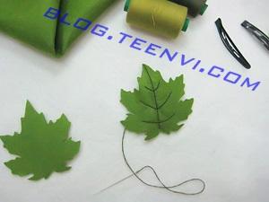 Bước 2: Thêu phần gân lá bằng chỉ màu đen - Teenvi Blog
