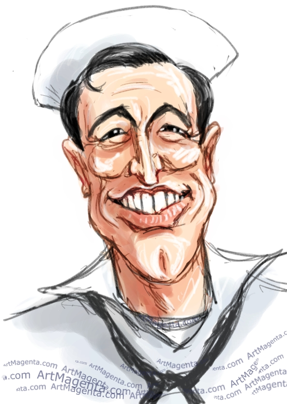 Gene Kelly  caricature cartoon. Portrait drawing by caricaturist Artmagenta