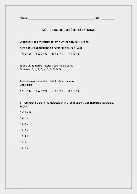 Múltiplos e Divisores - Multiplicação e Divisão parte 1
