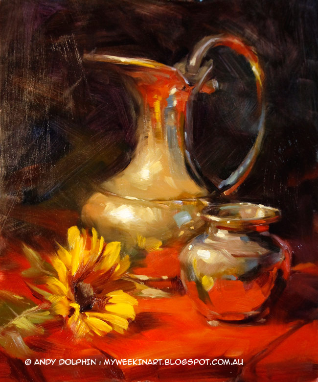 Sunflower and brass jug pitcher still life oil painting by Andy Dolphin