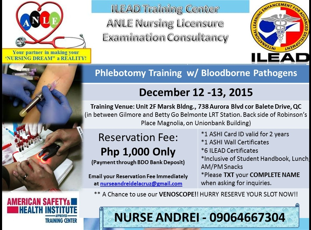 Its rndrei ashi bls acls ecg training december 5 6 2015 phlebotomy training with ashi bloodborne pathogens xflitez Gallery