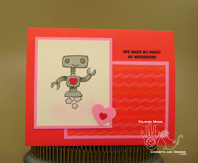 Picture of front of card with robot featured