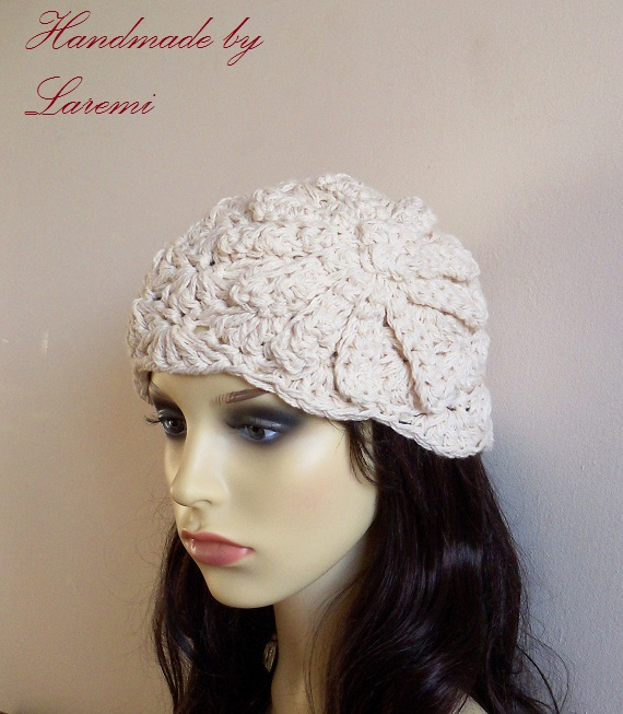 ... Laremi: Cotton Cream Chunky Women Beanie Hat with Crochet Flower