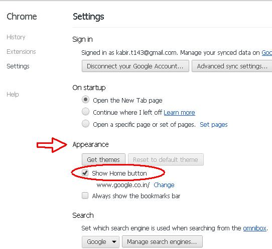 how to change the homepage on google chrome 2012