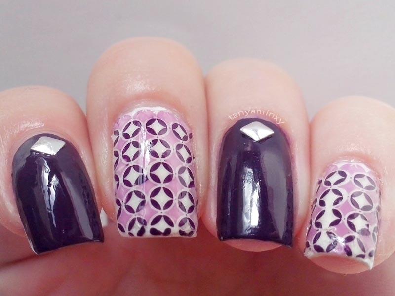 Purple Lavender Geometric Soft Stamping Nails KkCenterHk Circles Dots Rhombuses Nail Art Nail Design