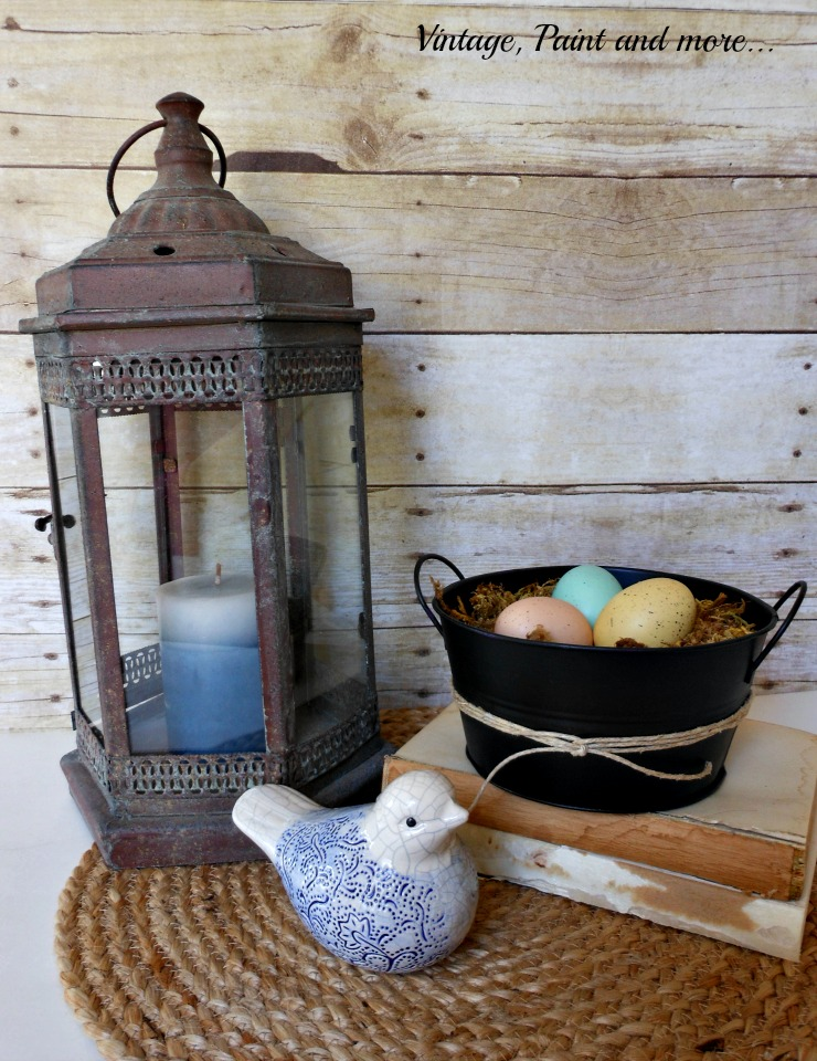 Vintage, Paint and more... Plain tin bucket DIY'd with chalkboard paint and twine, rustic lantern, sisal placemat