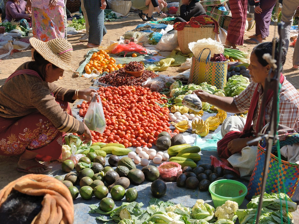 Vegetable seller at floating market on Inle Lake
