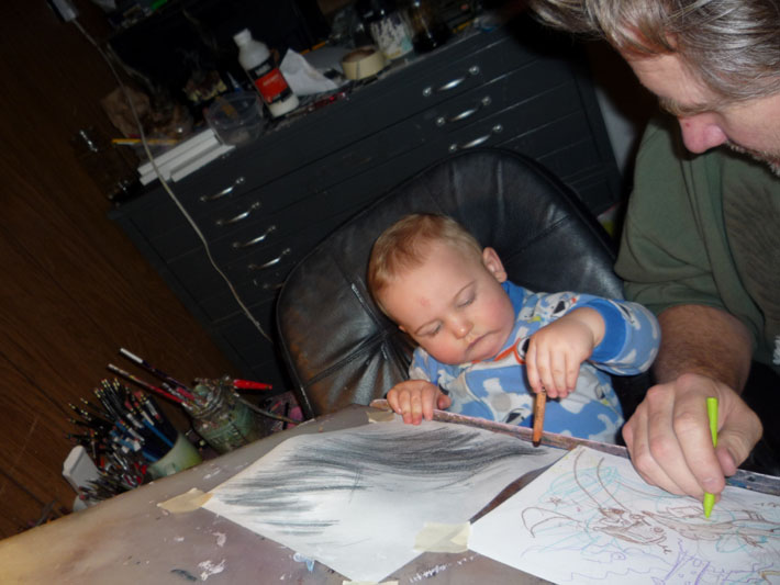 Twist And Dad At The Drawing Board