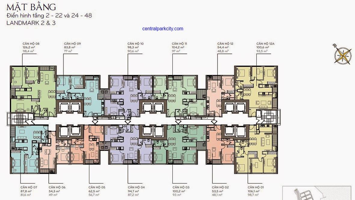Mặt bằng bố trí căn hộ Landmark 2&3 tầng 2 - 22 và 24 - 44