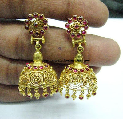 antique gold jhumki earrings