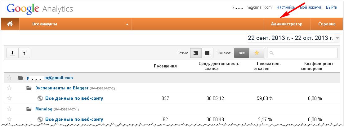 Удаление блога из аккаунта Google Analytics. Шаг 1.