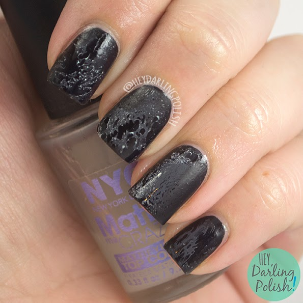 nails, nail art, nail polish, black, water spotted, matte, hey darling polish, naillinkup,