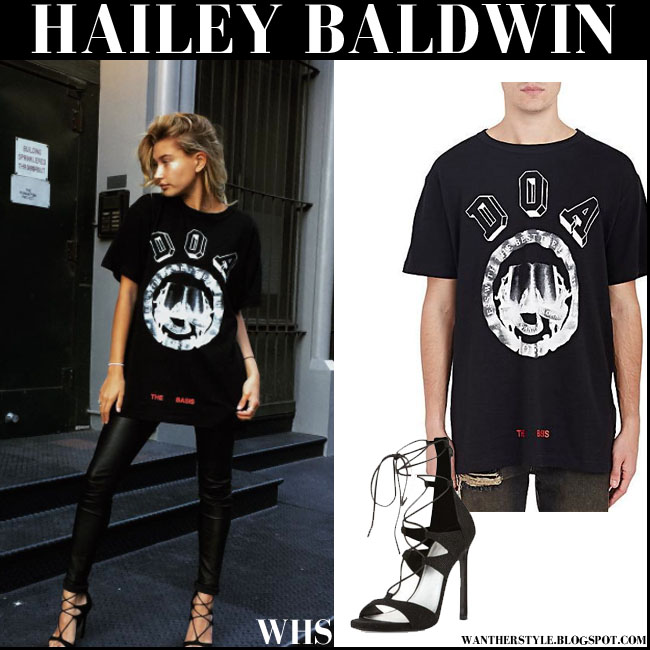 Hailey Baldwin in black DOA print t-shirt, black pants and black sandals Stuart Weitzman what she wore