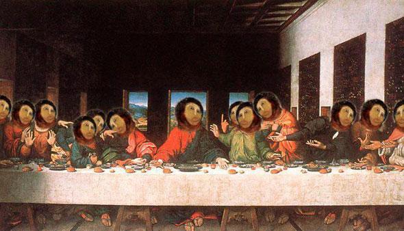 La última cena de Leonardo Da Vinci restaurada al modo de la abuela de Borjas