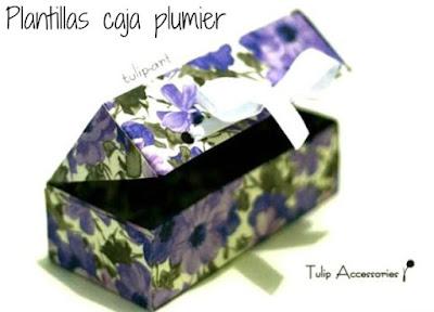 Cajas forma plumier para regalos plantilla