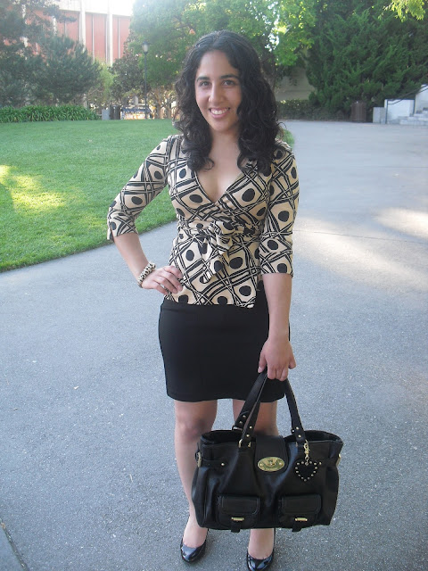Vintage Print DVF Top and F21 Pencil Skirt
