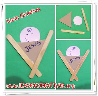 Enfeite Natalino Menino Jesus na manjedoura com Palitos de Picolé Formas geométricas Atividade Educação Infantil