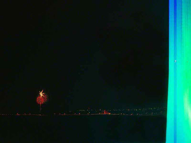 fireworks,blue, green, tower, image
