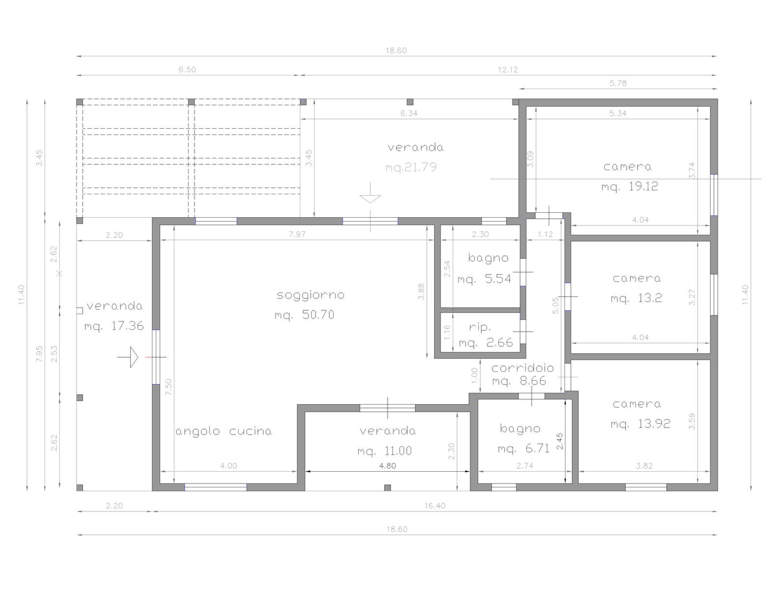 Progetti di case in legno casa 139 mq porticati 50 mq - Planimetria casa 50 mq ...