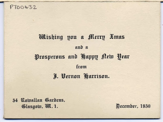 Christmas card from J V Harrison