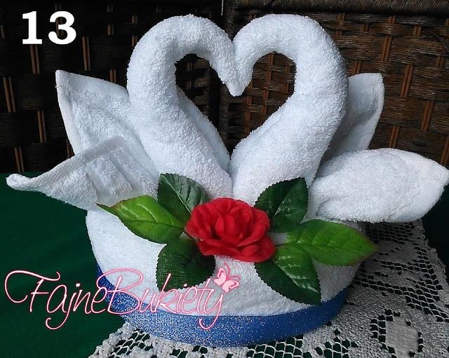 Tort z ręczników - łabędzie