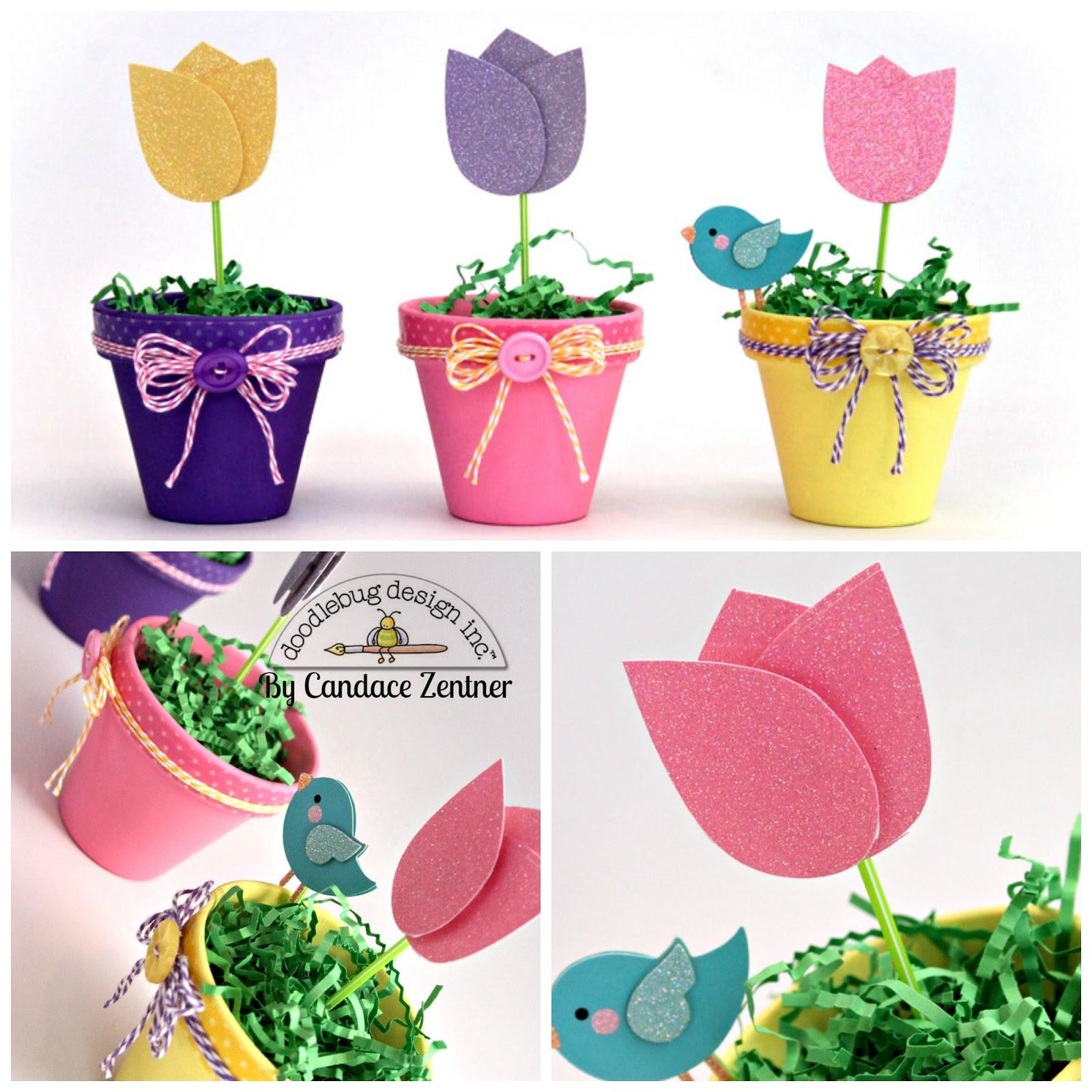 Doodlebug Design Inc Blog Sugar Coated Tulip Flower Pot Tutorial By