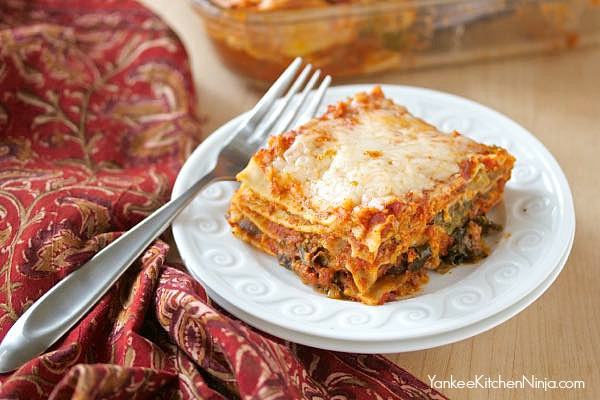 Nutty vegetarian lasagna with sprouts and kale
