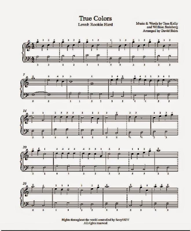 Cyndi Lauper True Colors Sheet Music True Colors by Cyndi Lauper