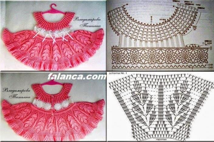 Delicado vestido de niña tejido al crochet | Crochet y Dos agujas
