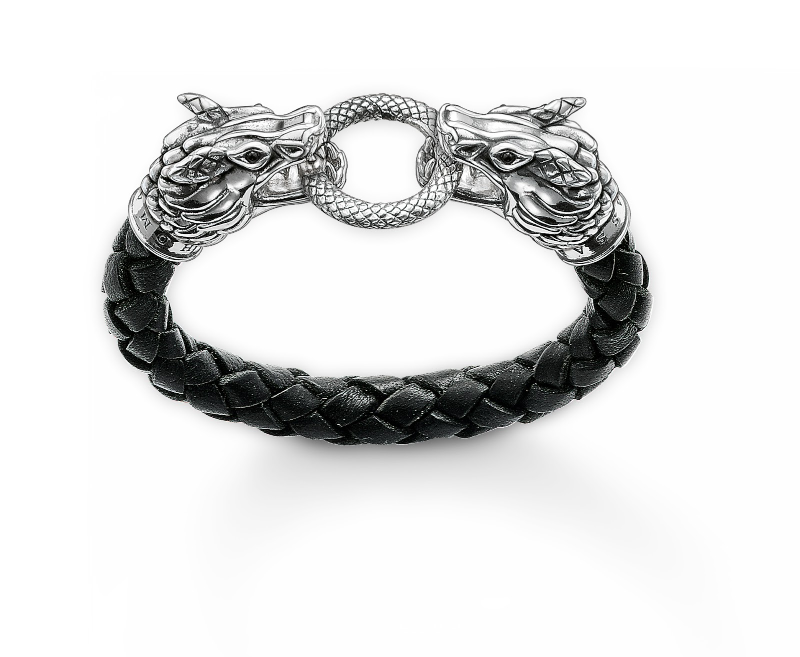 The Dragon Bracelet In Black Leather, Sterling Silver And Blackened Onyx  Price £298
