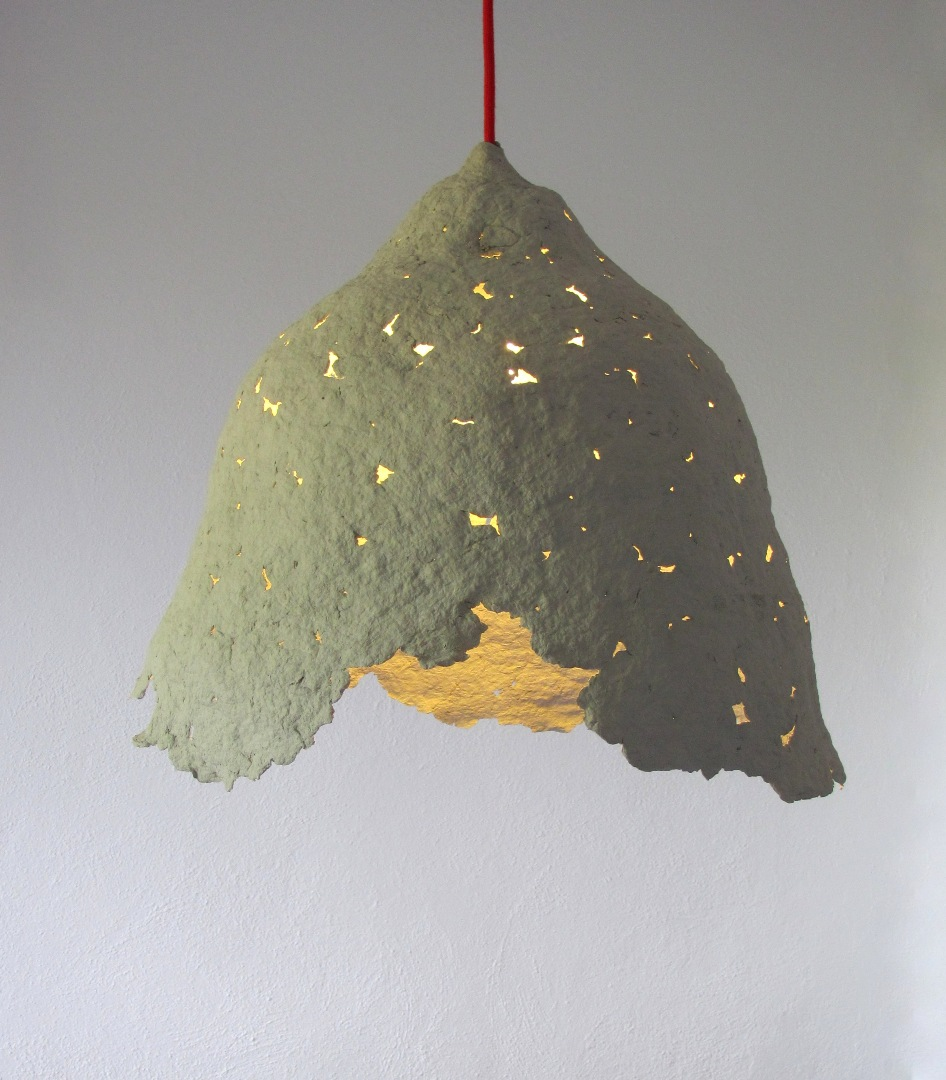 "second life of objects: ""Calyx of flower I"" paper pulp pendant lamp for Recycled Paper Lamp  75tgx"