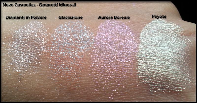 Neve Cosmetics - Ombretti Minerali - Swatch di Diamanti in Polvere, Glaciazione, Aurora Boreale e Peyote