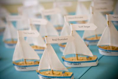 Beach Wedding Sailboat Escort Cards.