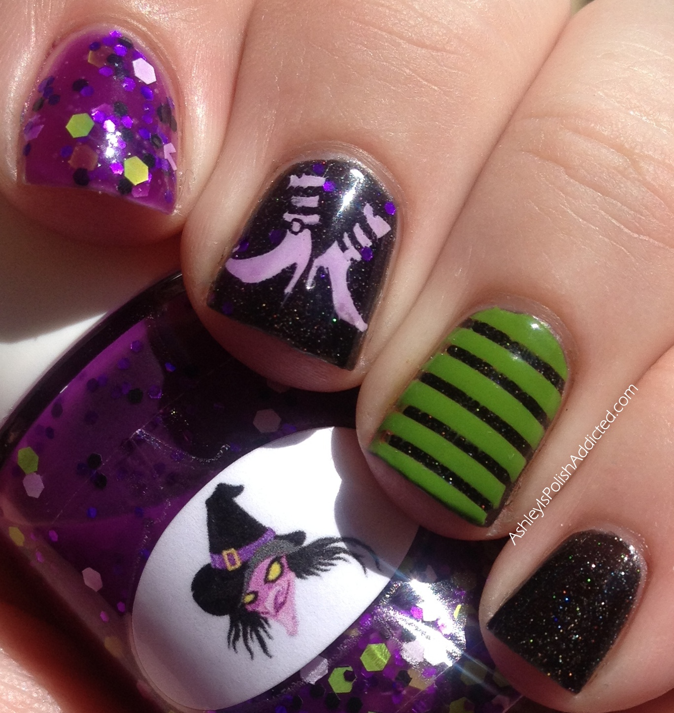 I stamped on the witch feet using a plain white creme and then did a VERY  THIN coat of Witch over it to tint them purple just a bit. - Ashley Is PolishAddicted: The Nail Junkie Black Cat, Witch, Nail