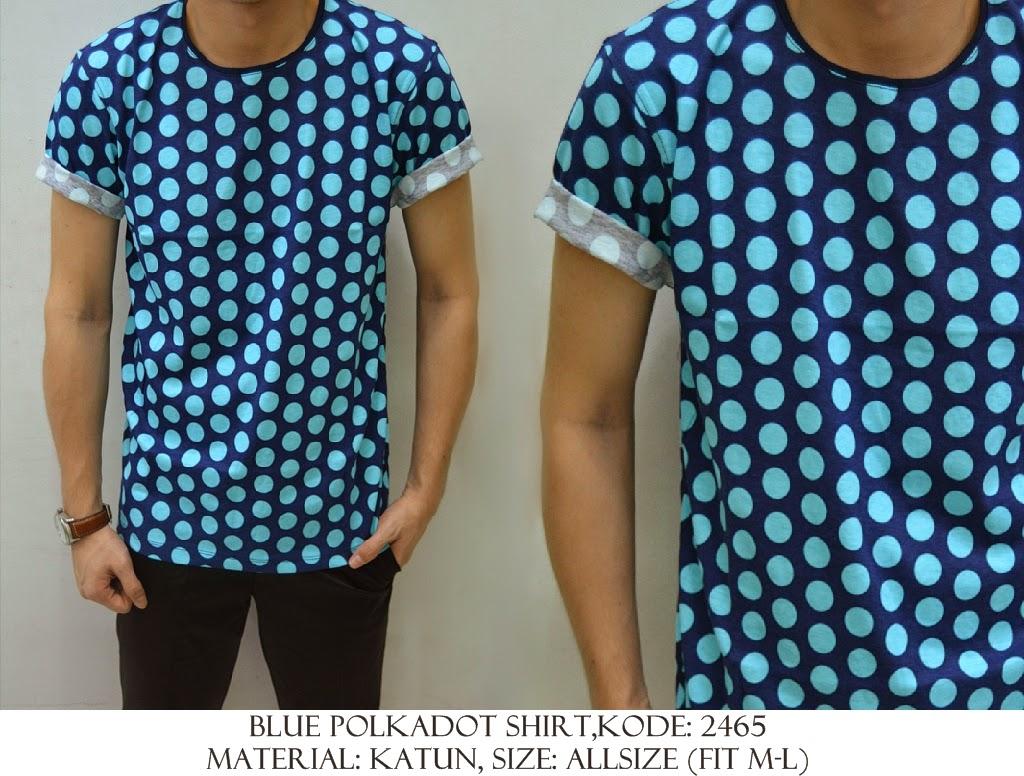 Baju Distro & Baju Kemeja Blue Pulkadot | Shirostore