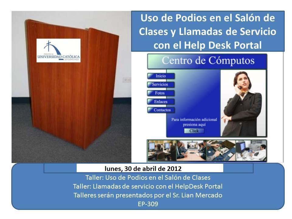 Actividades de desarrollo pucpr recinto de mayaguez lunes for Actividades en el salon de clases