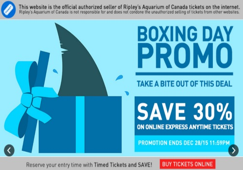 Ripley's Aquarium Boxing Day Promo 30% Off Tickets
