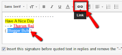 Adding website links in signature in gmail