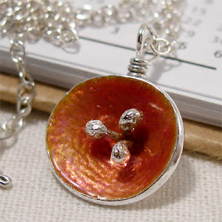 Poppy Enamel Silver Poppy Necklace, Orange Pink Poppy Flower Pendant, Sunset Glow