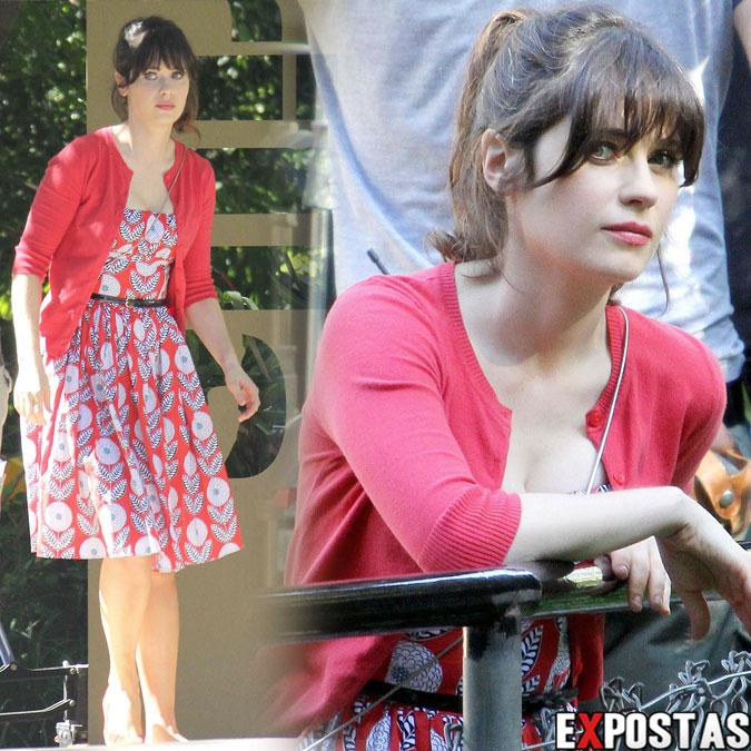 Zooey Deschanel filmando cenas de 'New Girl' em zoológico de Los Angeles - 15 de Outubro de 2012