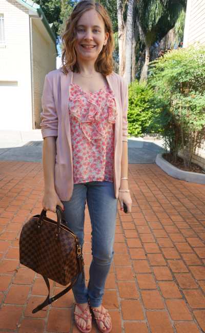 blush pink Blazer Floral Ruffle cami spring pastels in autumn skinny jeans LV speedy B