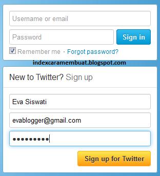 form pendaftaran akun twitter