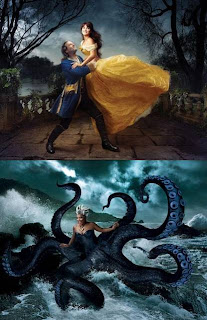 "Two photos from ""Let the Memories Begin"": Penelope Cruz and Jeff Bridges recreate the final dance from ""Beauty and the Beast""; and Queen Latifah is shown as Urusla the cecaelia, commanding the waves."