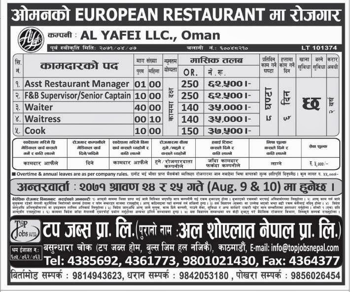Opportunity in European Restaurant