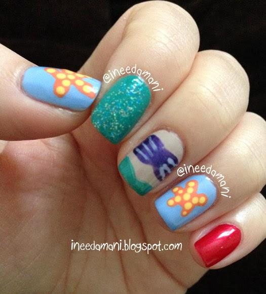 disney little mermaid nails