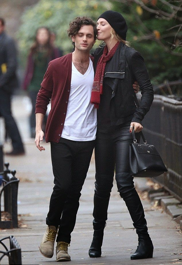 "On her dutiful to filming, Uma Thurman and Penn Badgley were spotted on movie set of ""The Slap"" at Brooklyn, NY, USA on Tuesday, December 16, 2014."