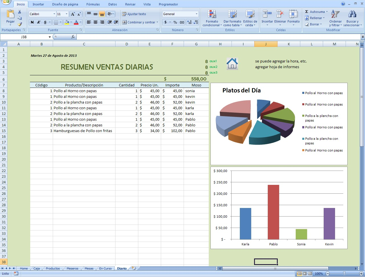mini aplicaciones en Excel: Gestor de Restos y Bares con panel de ...