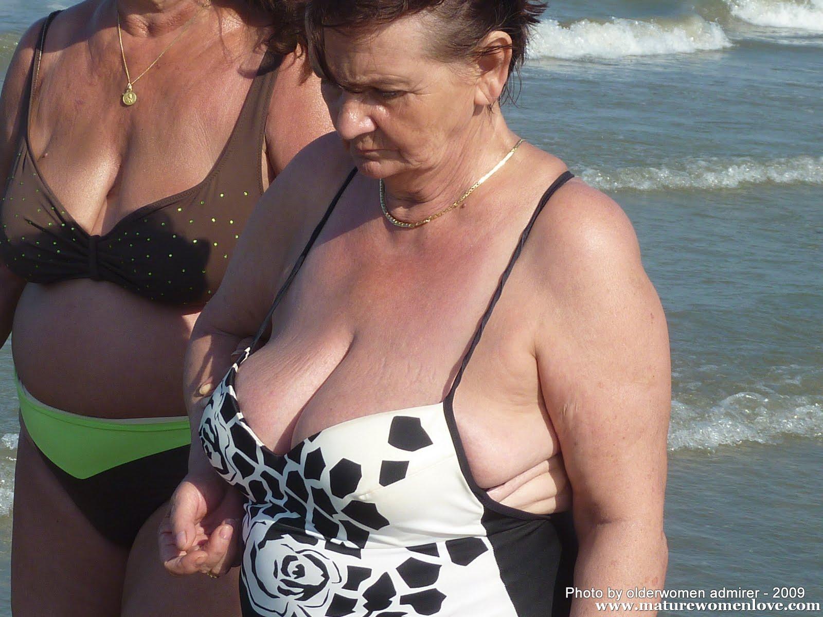 Granny grandma big boobs beach