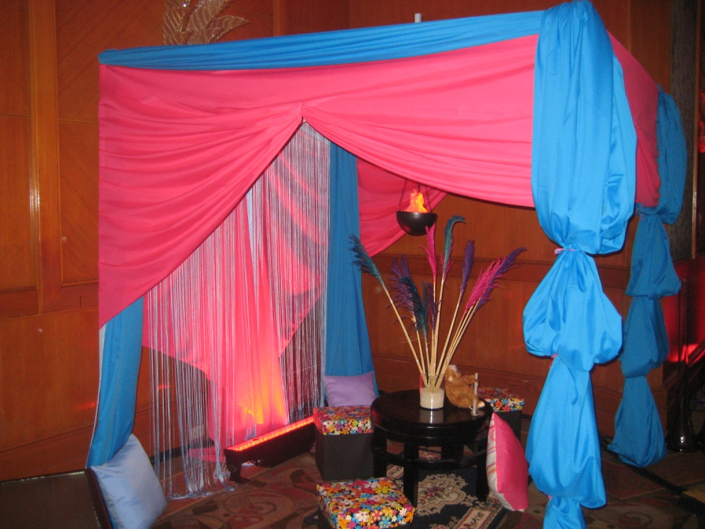Arabian nights or bollywood themed event tent decors for Arabian party decoration ideas