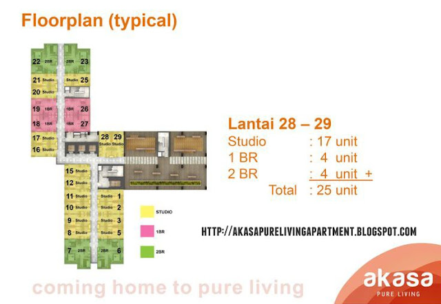 Denah Lantai / Floorplan Tower Kalyana Akasa Pure Living BSD